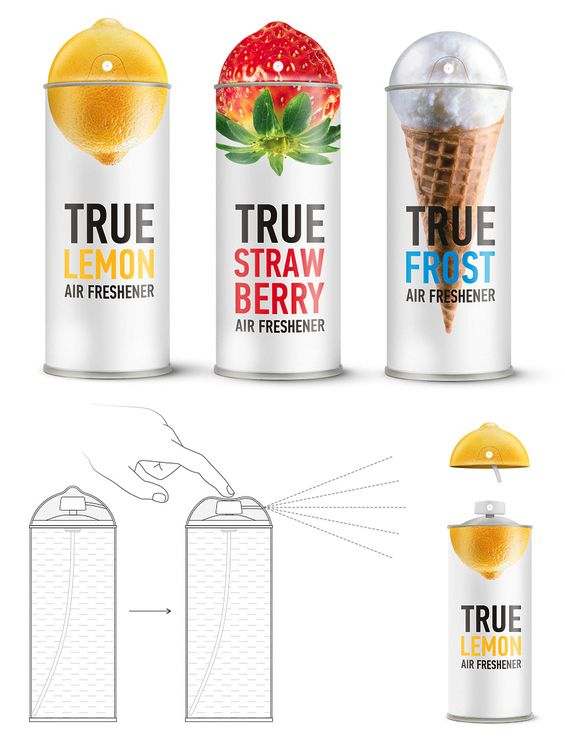 "Conceptual packaging for ""True"" airfreshners"