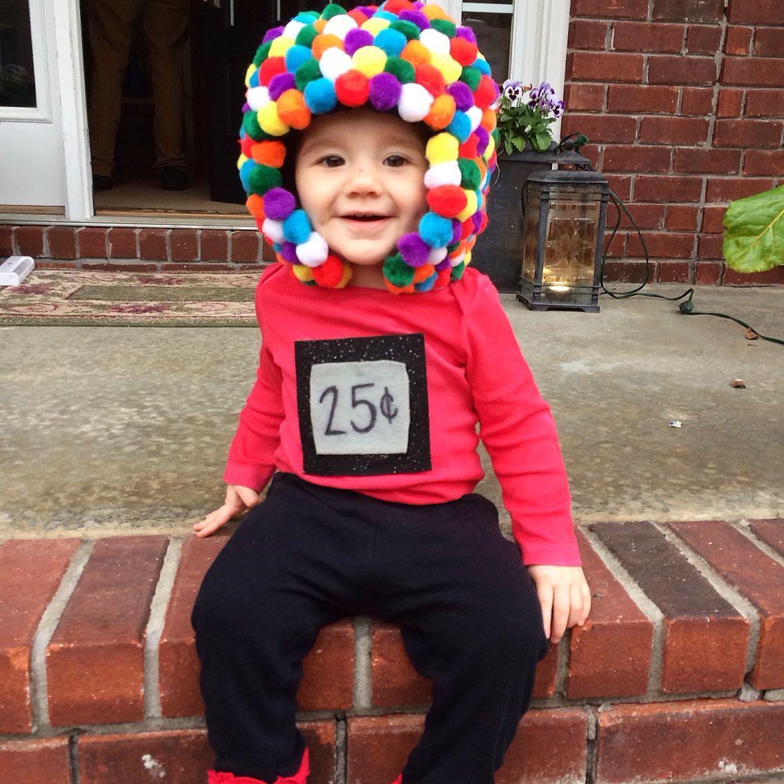 gum ball machine. 10 months. baby girl. halloween costume. diy