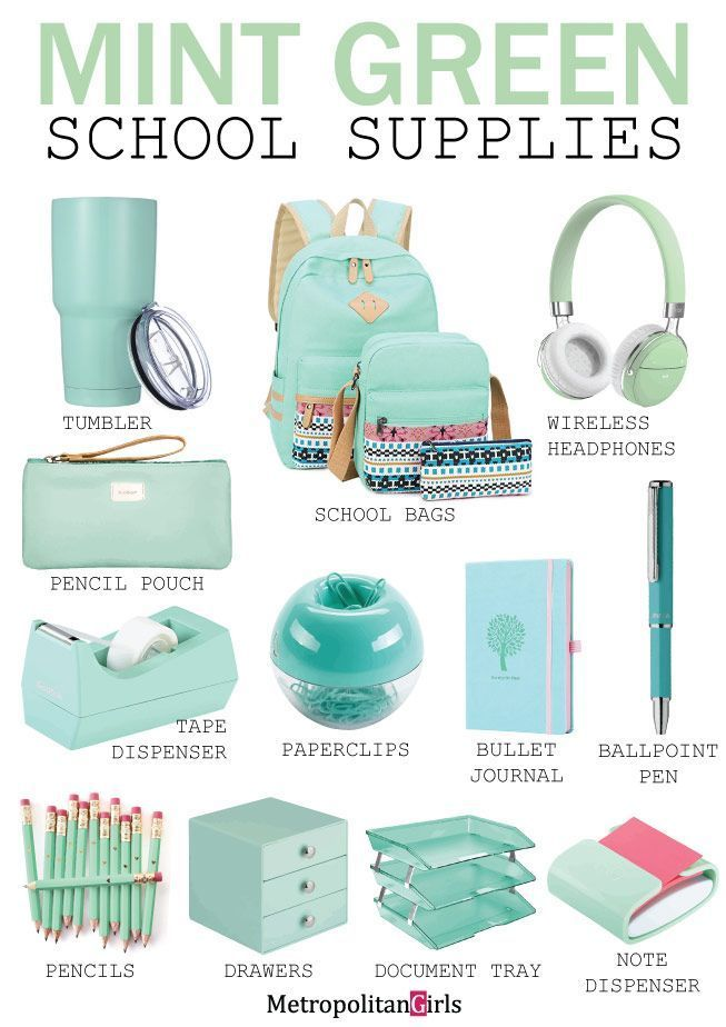 Mint green school supplies and stationery