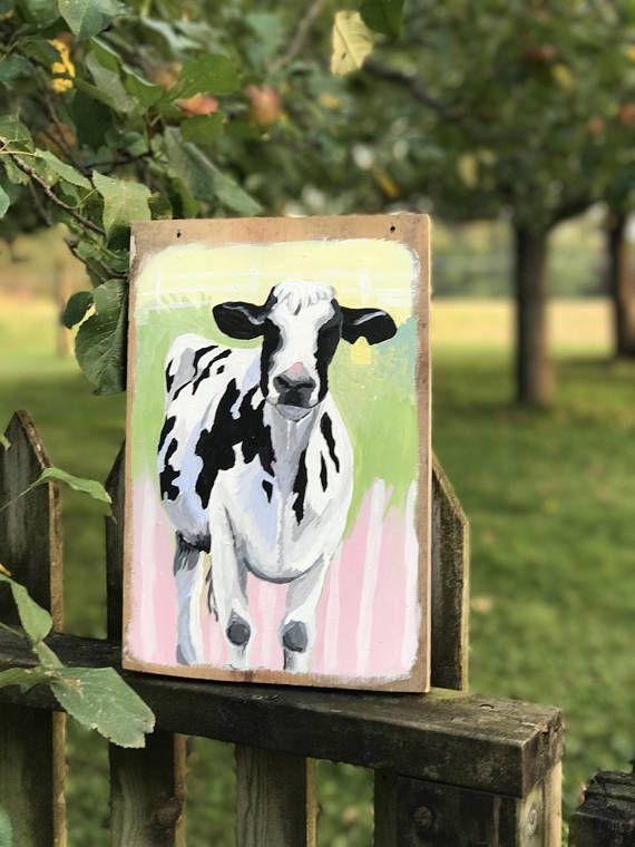 Cow Ornament Gourd Art Cow Decor Holstein Cow by Gourdament |Holstein Cow Decorations