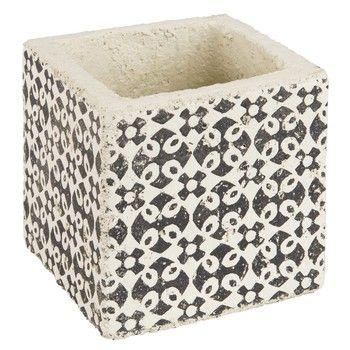 cache pot en ciment motifs marron h10 599 maison du monde