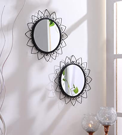 Buy Hosley Decorative Round Iron Wall Mirror (20.32 cm x ...