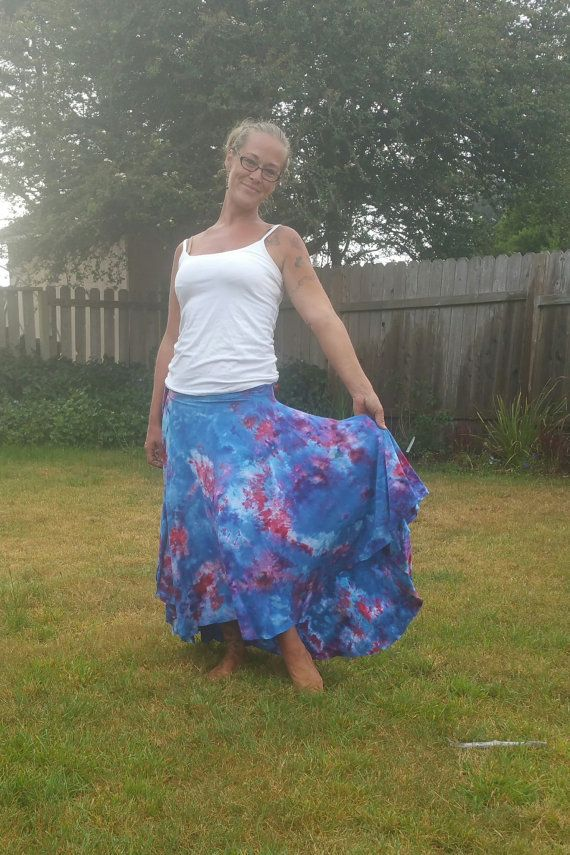 BlUe and piNk tiE dYe skiRt gYPsy skiRt tie dyE by LunabeanShoppe