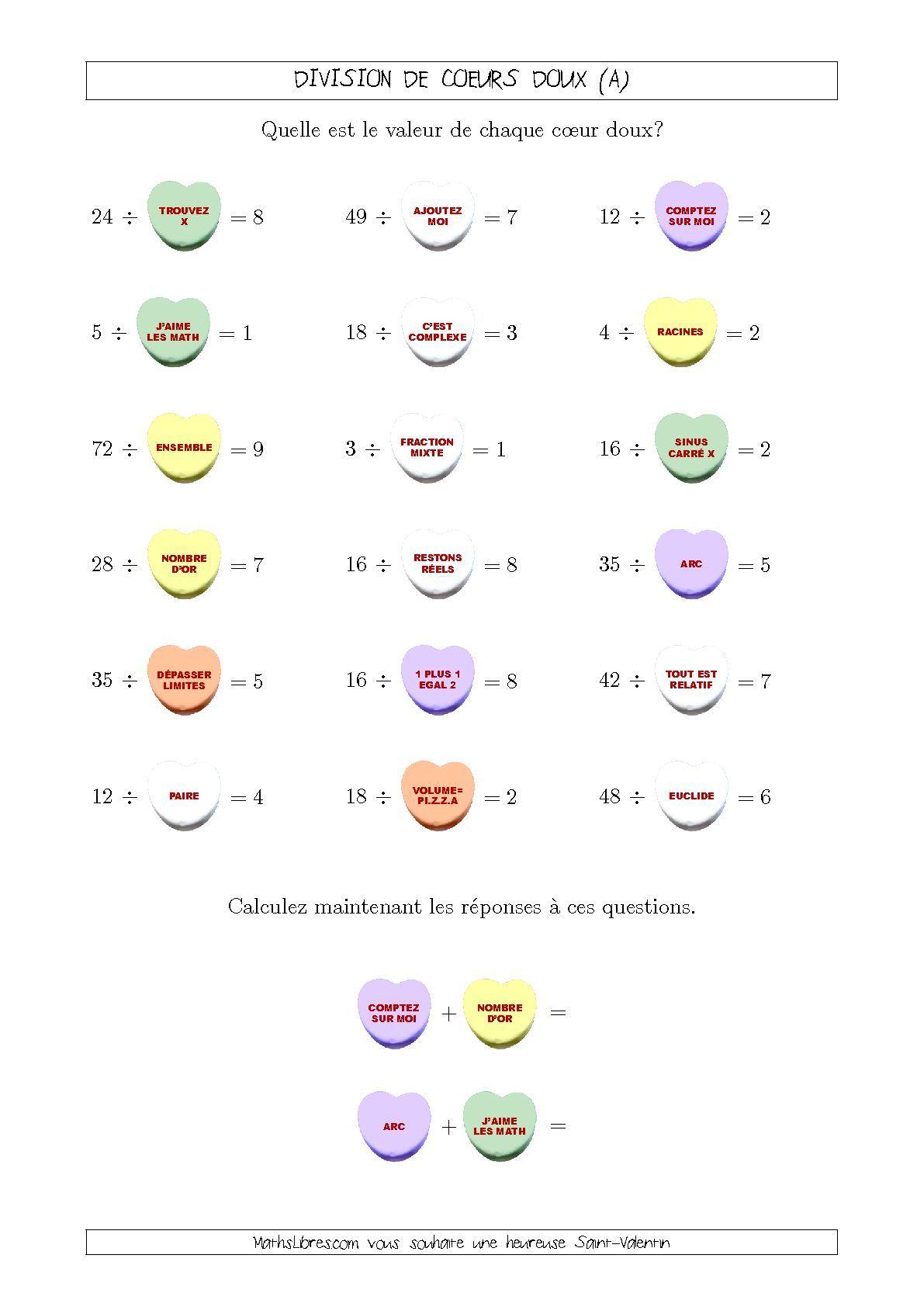 Activités Mathématiques de la Saint-Valentin - Division de ...