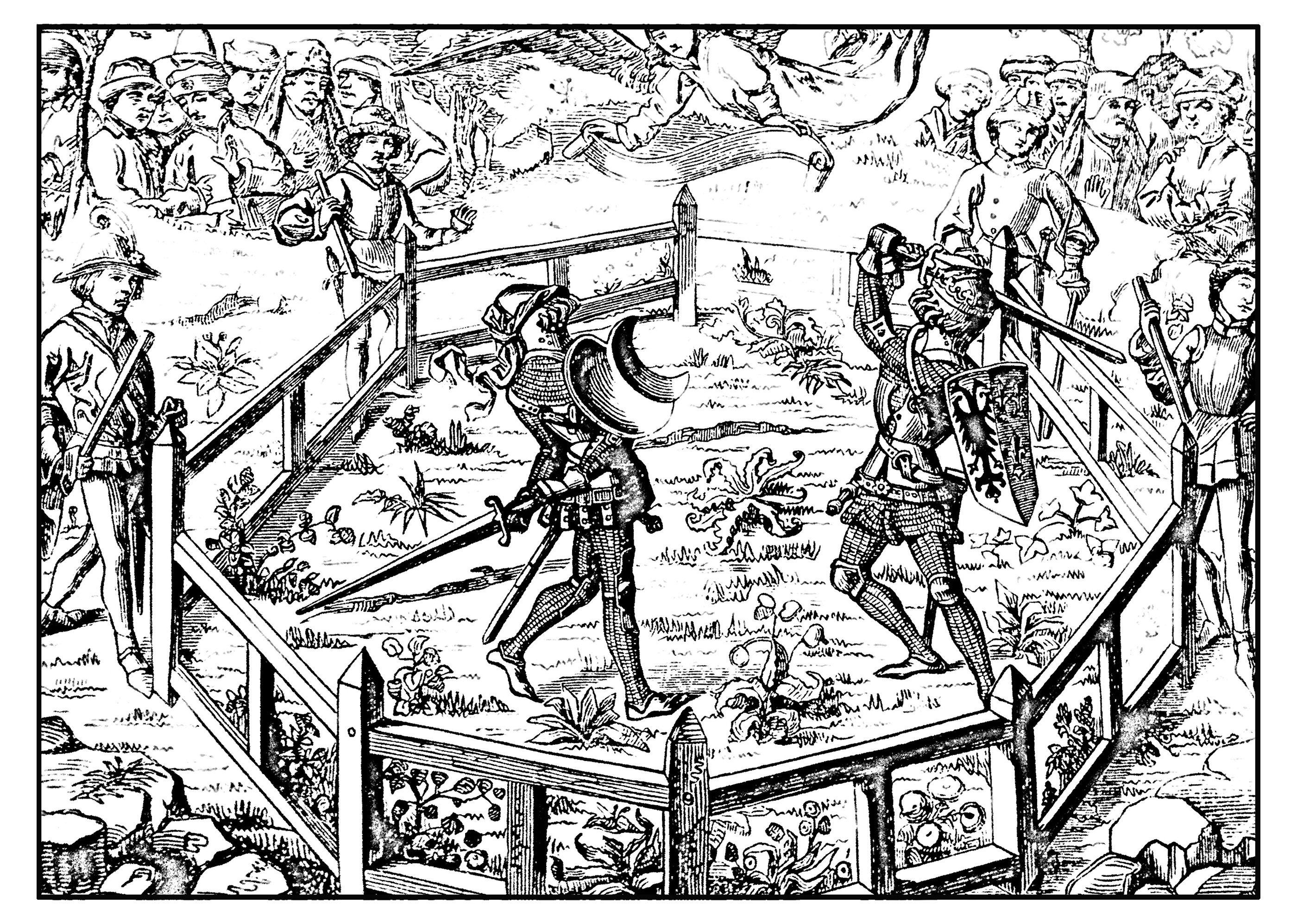 free coloring page coloring middle age tournament knights