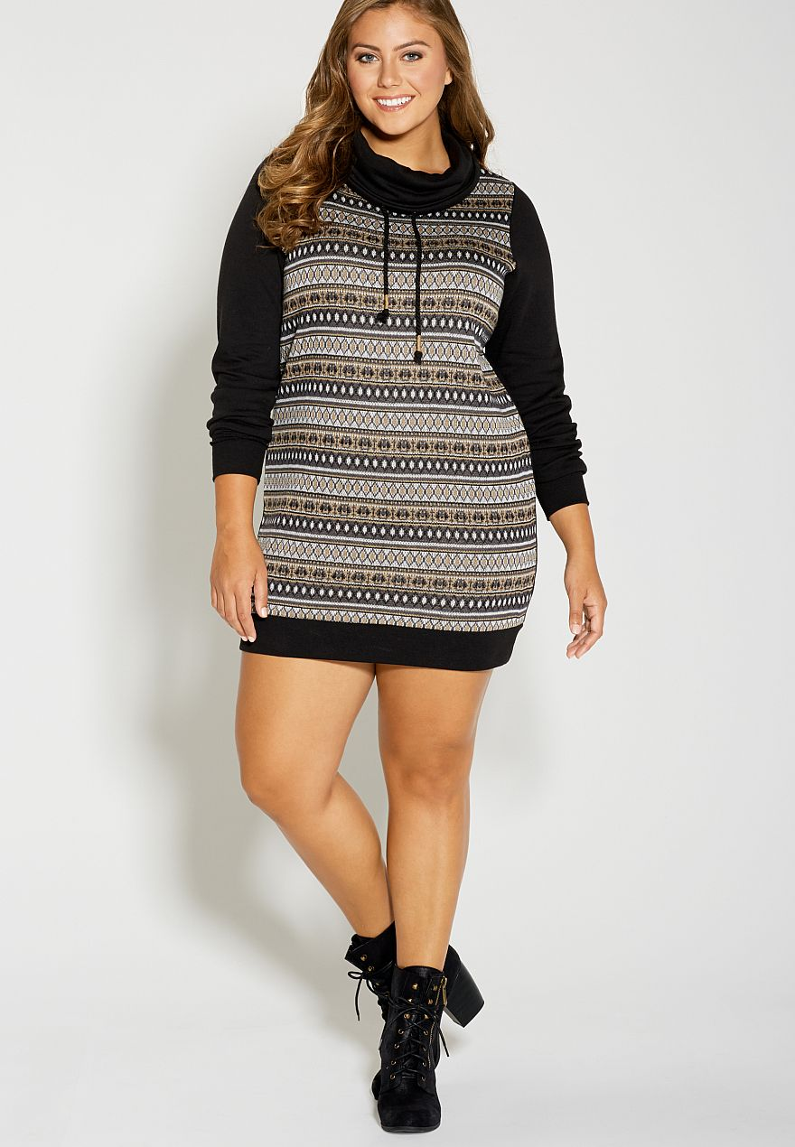 plus size patterned sweatshirt dress with cowl neck - #maurices ...
