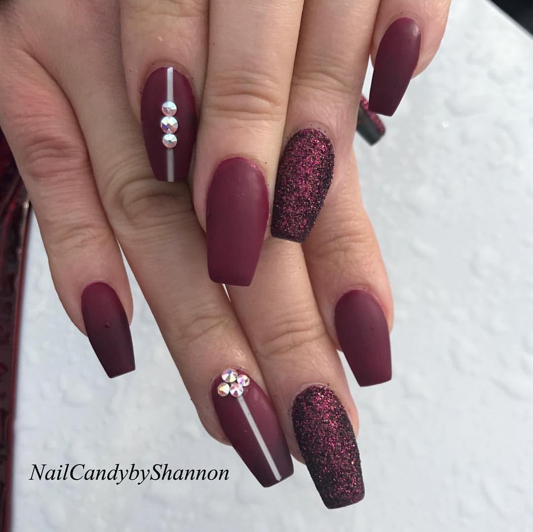 120 Likes 4 Comments Vibrating Gratitude 24 7 Nailcandybyshannon On Instagram Matte Plum Nails November Nails Plum Nails November Nail Designs
