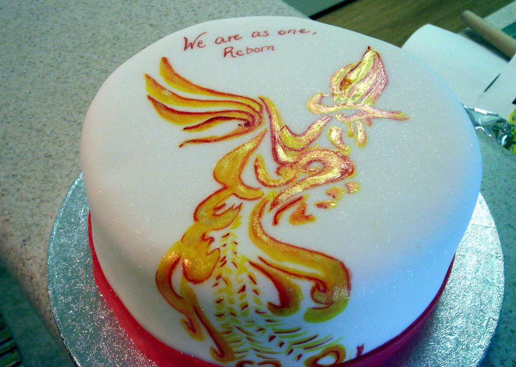 Phoenix Cake Done to match a tattoo on the guest of honors