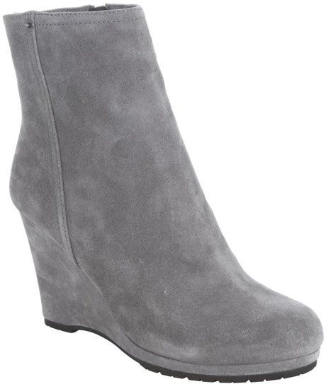 got these me too gray suede ankle boot | Prada Sport Gravel Suede Wedge  Ankle Boots