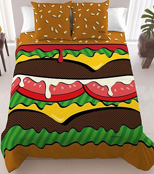 Burger Bed Sheets- I think I would wake up hungry if I had these, lol.