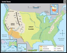 Primary Level United States Physical GEOGRAPHY EDUCATION - Physical features of the united states map