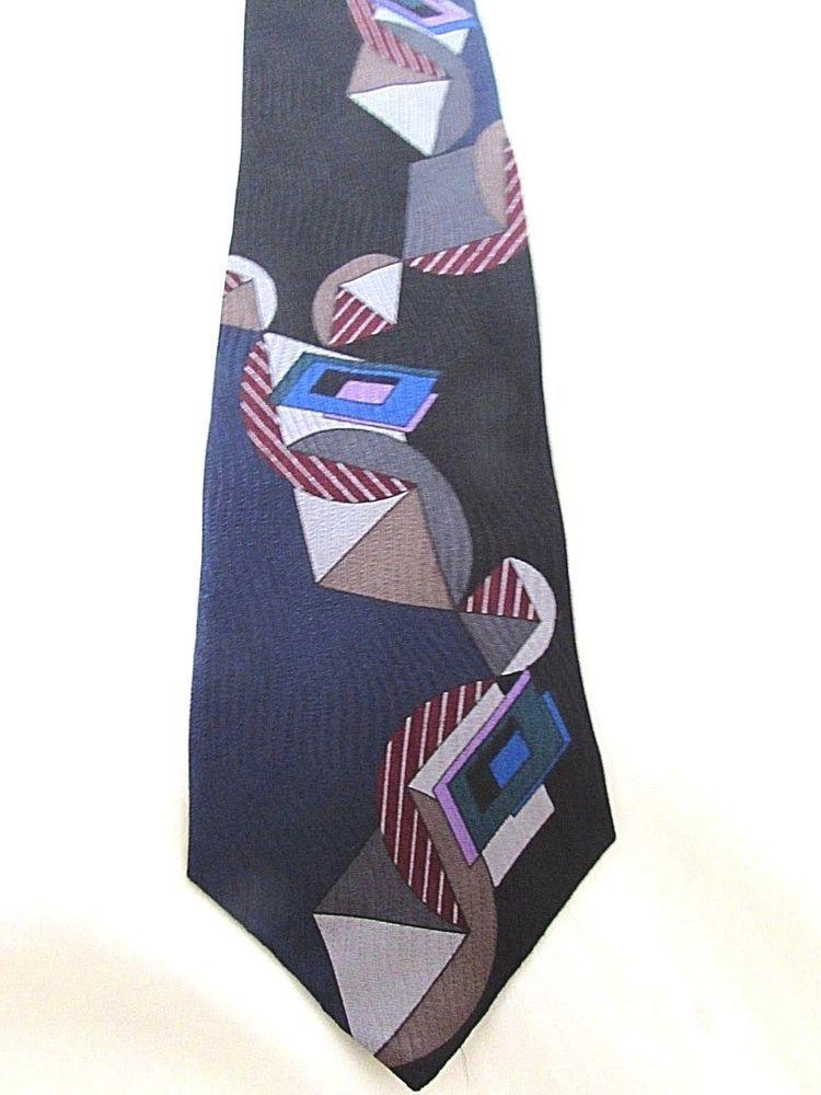 e95a12d11318 BUGATTI Geometric Abstract Black Blue Men's 100% Italian Silk Tie #Bugatti # Tie
