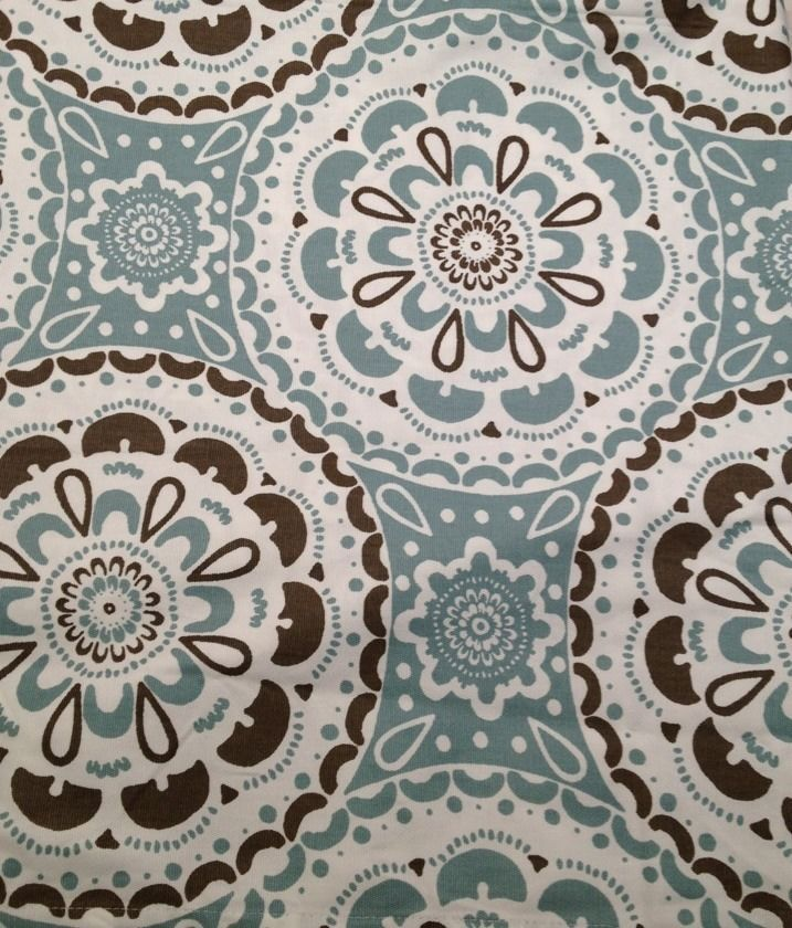 NEW THRESHOLD Blue Brown Medallion Shower Curtain Contemporary