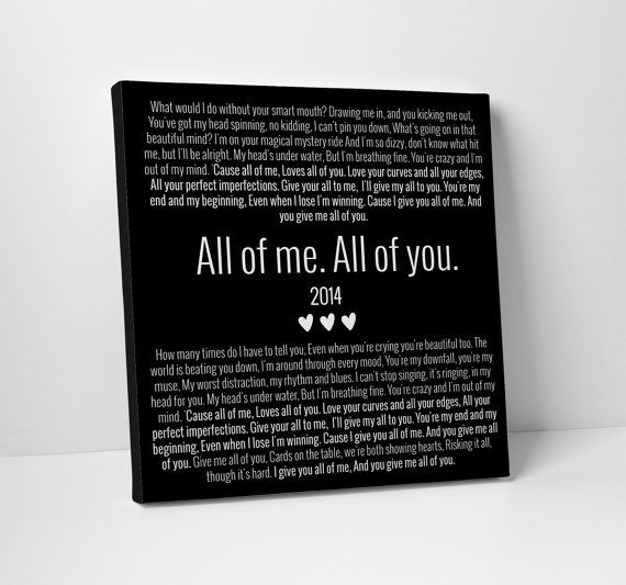 All of Me Loves All of You John Legend Canvas by TheStandardCanvas, $50.00