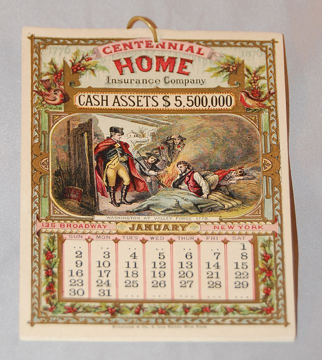 1876 Centennial Home Insurance Co.Calendar. This calendar