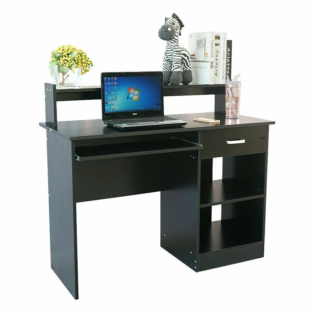 Black Computer Desk With Drawers Home Office Workstation Laptop Table Affilink Desk D Home Office Computer Desk Computer Desks For Home Black Computer Desk
