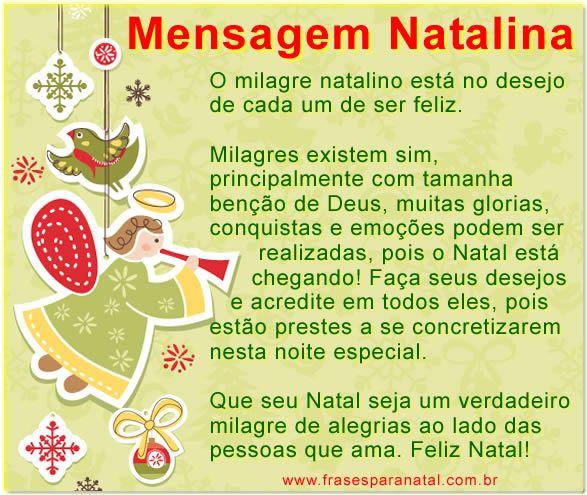 Mensagem Natalina Mensagens Para O Natal Diversos Pinterest