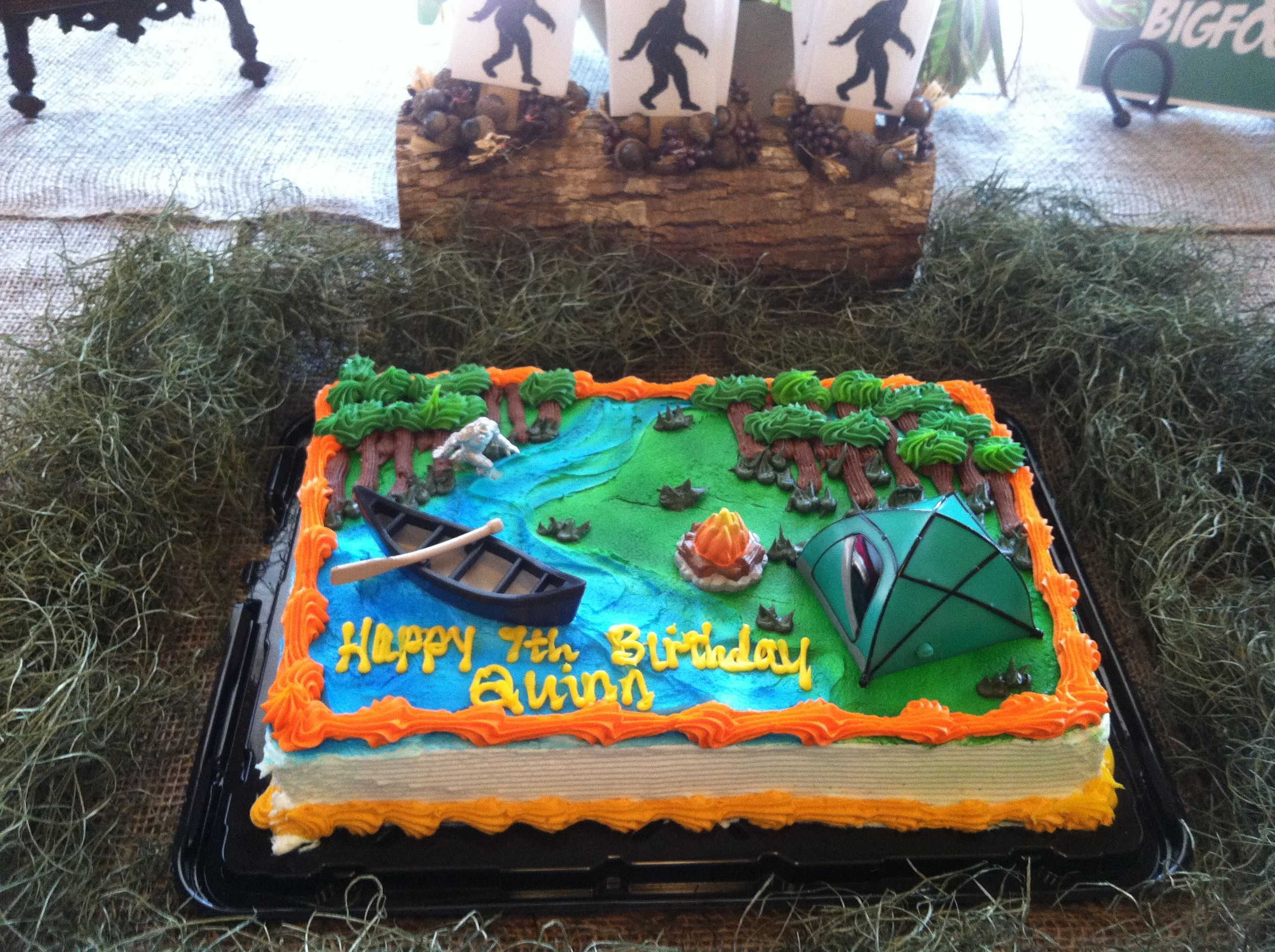 Yes Its Hard To Find A Bigfoot Cake At Your Local Bakerybut Kroger Has Camping Themed That Worked Just Fine We Added The Little Figure Of