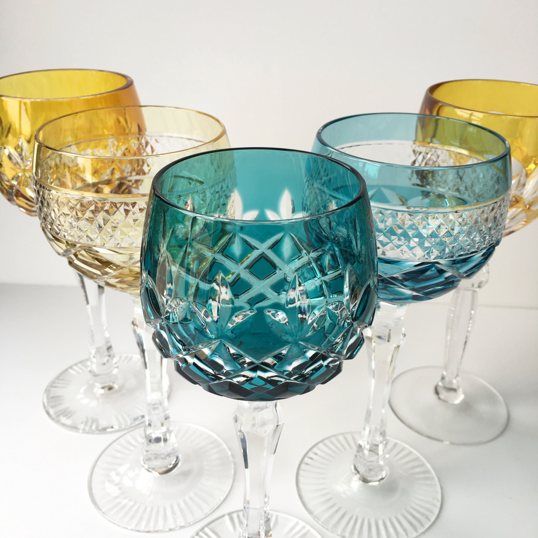 Pin Op Crystal Wine Glasses Vintage