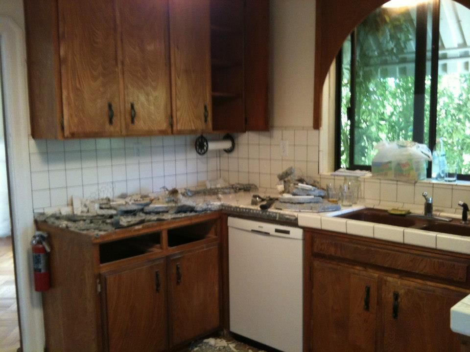 """My kitchen """"before"""" I painted it and replaced the counter ..."""