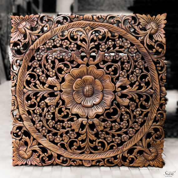Wood Wall Art Panels wooden wall carving panel. indian style wall hanging. floral wood