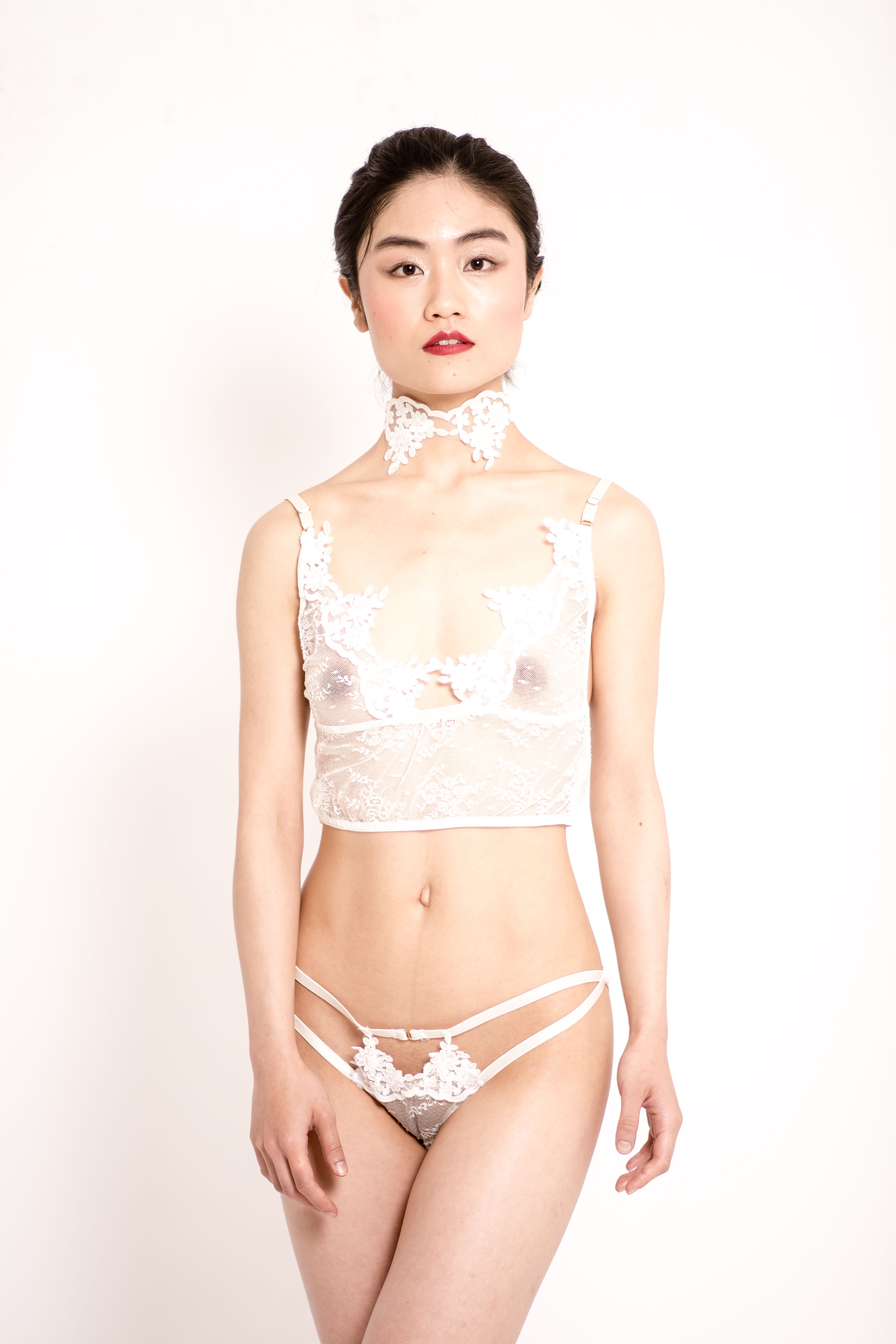 9de52ac439f Sofia sheer white lace Made in Paris and ivory embroidery lace lingerie set.  For the sexiest bridal look. Ivory embroidery lace choker as detail. ...