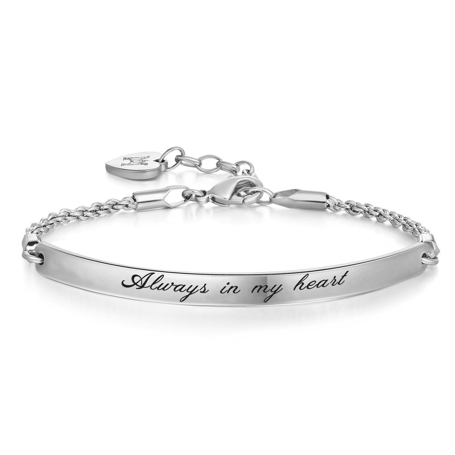 Photo of Announce Engraved Message Always In My Heart Inspirational Quote Bar Bracelet, Wh …