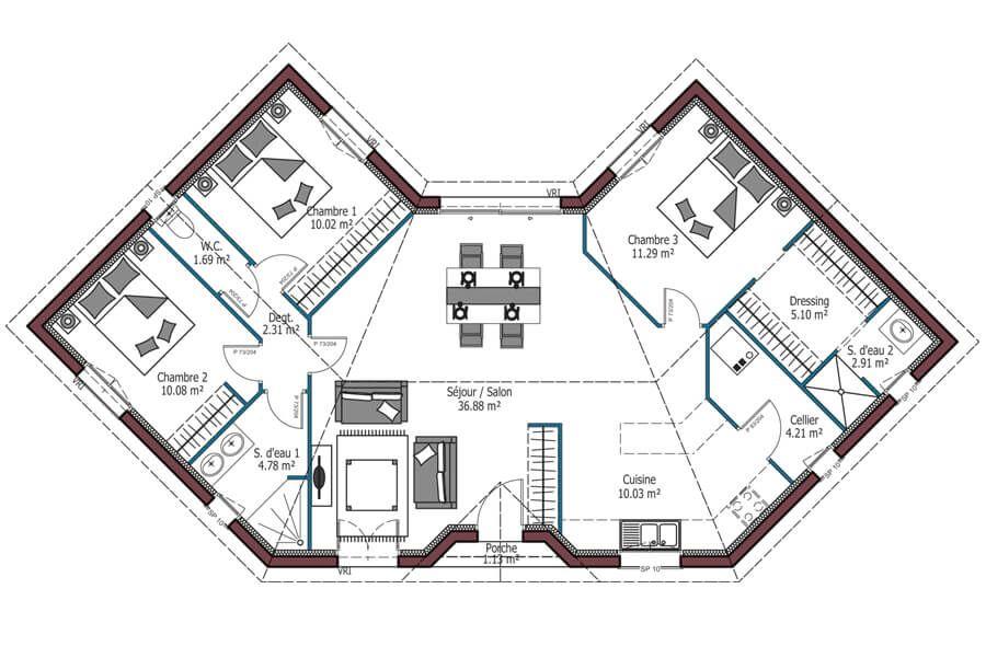 Mod le lotus plan maison personnalisable 3 chambres 99m maisons mca maisons de la - Mca maisons de la cote atlantique ...
