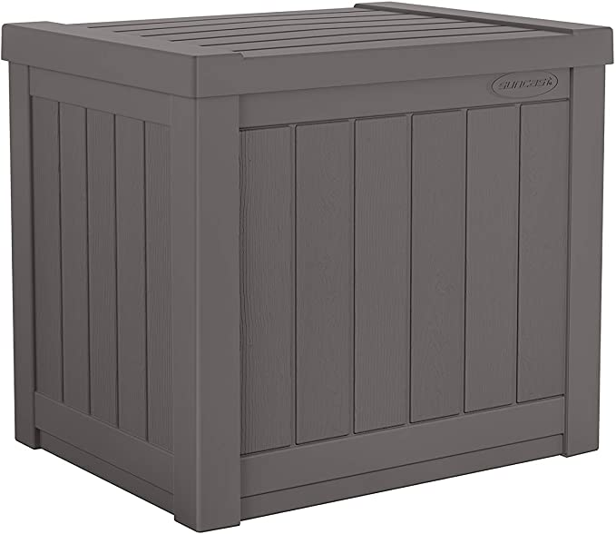 Amazon Com Suncast 22 Gallon Small Deck Box Lightweight Resin Indoor Outdoor Storage Container And Seat In 2020 Small Deck Box Small Outdoor Storage Patio Cushions