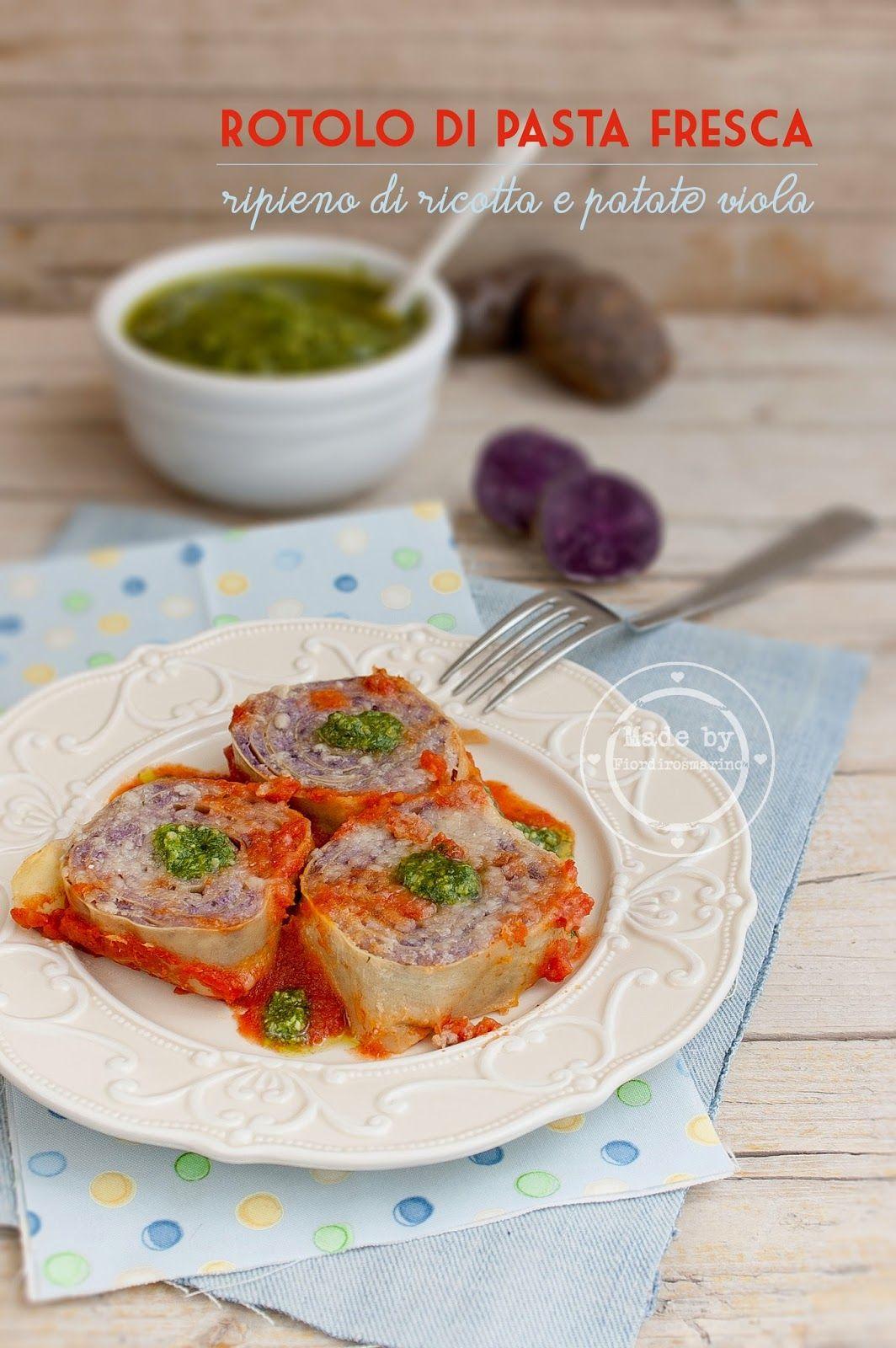 Rotolo di pasta fresca ripieno di ricotta e patate viola by Fiordirosmarino