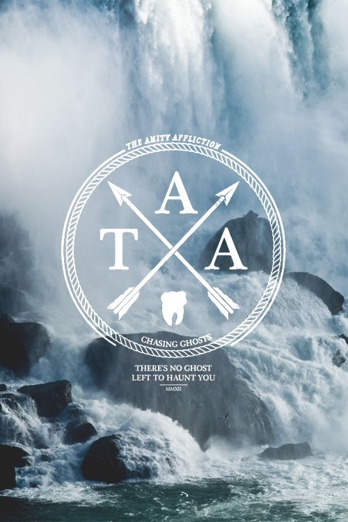 The Amity Affliction Circle Modern Hip Illustration White Blue Nature Waterfalls River Stone Advertising Brand Clean Simple Typography