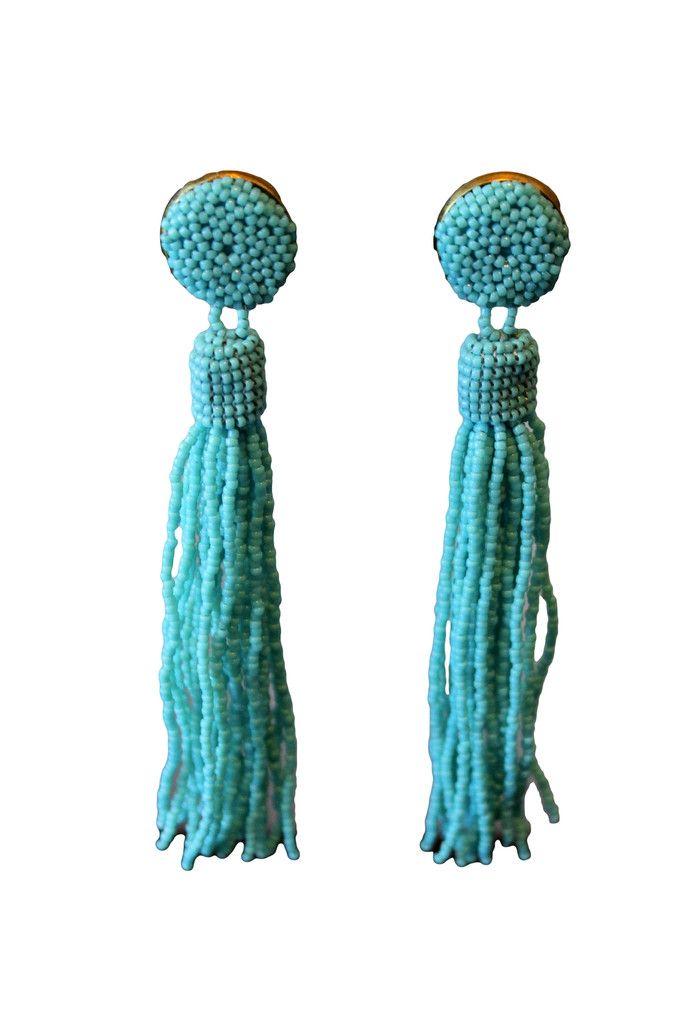 Turquoise Beaded Tassel Earrings | Beaded tassel earrings ...