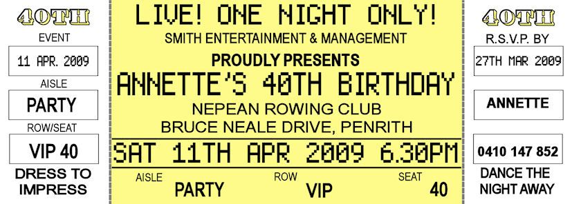 16th 18th 21st 30th 40th Concert Ticket Style Birthday Invitations ...