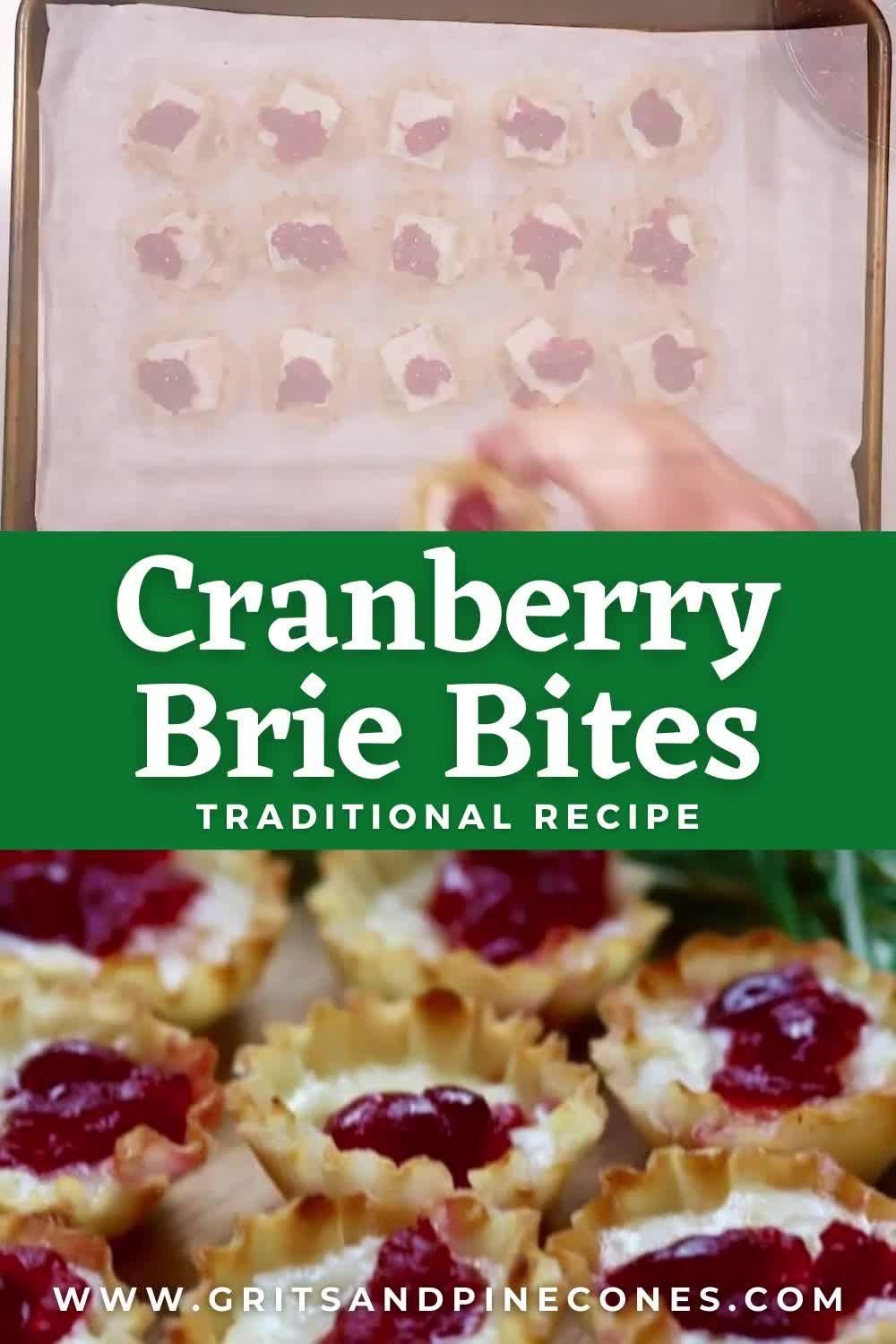 3-Ingredient Easy Cranberry Brie Bites Recipe - Grits and Pinecones -   23 thanksgiving recipes videos appetizers desserts ideas