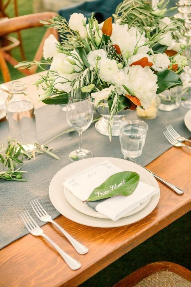 garten hochzeit frühling tischdeko grünes blatt tischkarte