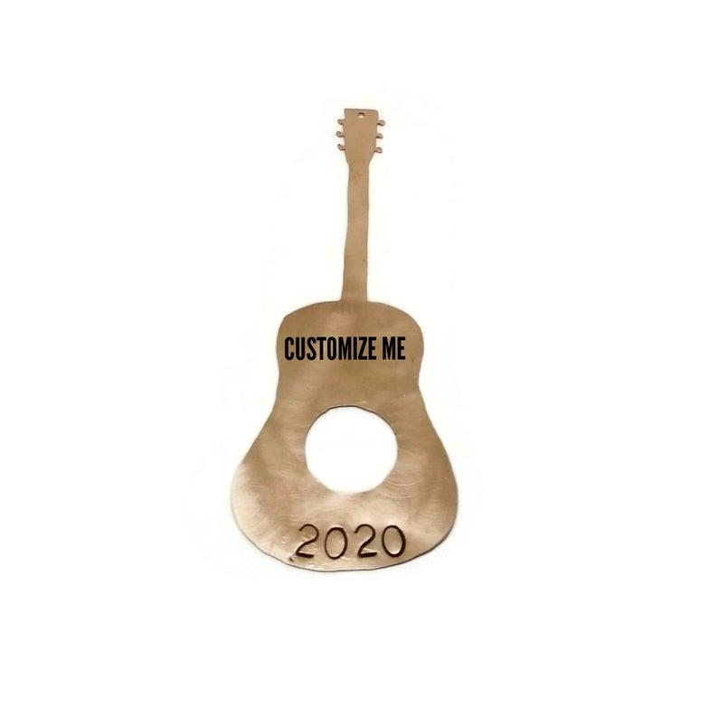Custom Acoustic Guitar Christmas Ornament Personalized Copper Etsy Custom Acoustic Guitars Personalized Christmas Ornaments Acoustic Guitar