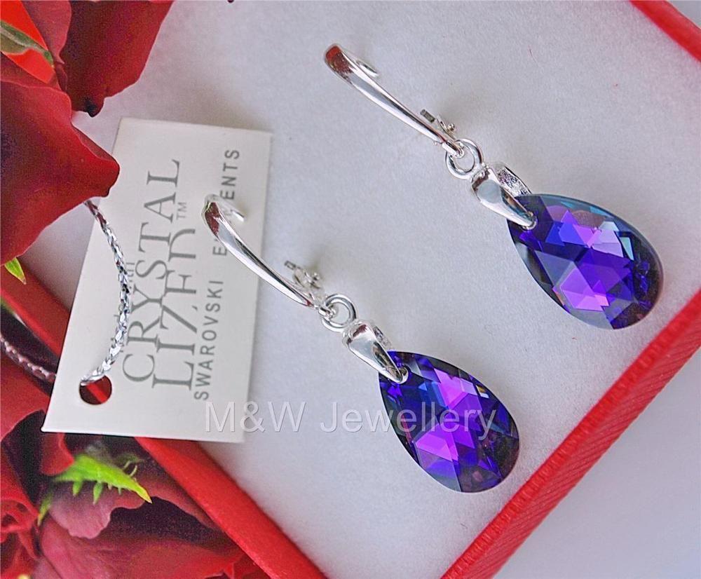 Ebay-jewellerymw-EARRINGS SWAROVSKI Elements ALMOND HELIOTROPE AB 16 mm STERLING SILVER 925-$12.28