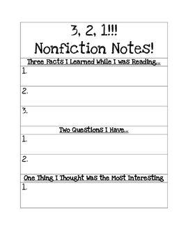 3 2 1 Nonfiction Notes Nonfiction Reading Nonfiction Reading