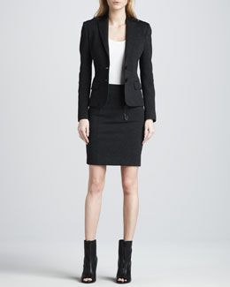 160733ffdaa5f0 4CSW Burberry Brit Leather-Detail Blazer & Pencil Skirt | My Style ...