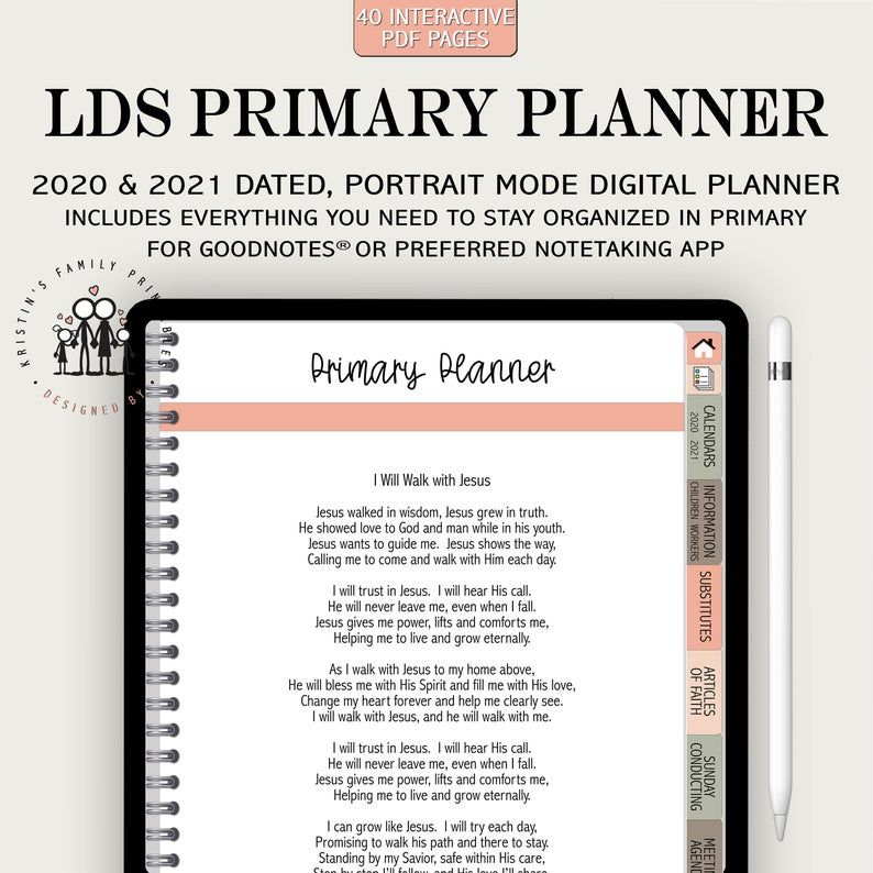 Lds Primary Digital Planner With 48 Clickable Links For Etsy Lds Primary Lds Primary Presidency Meeting Agenda Lds Primary Presidency