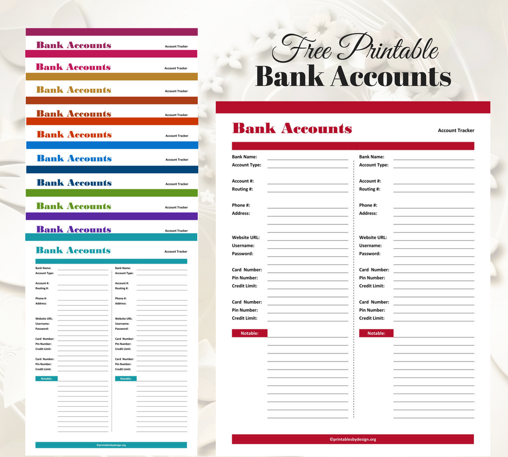 bank account tracker these come in 11 different colors and are