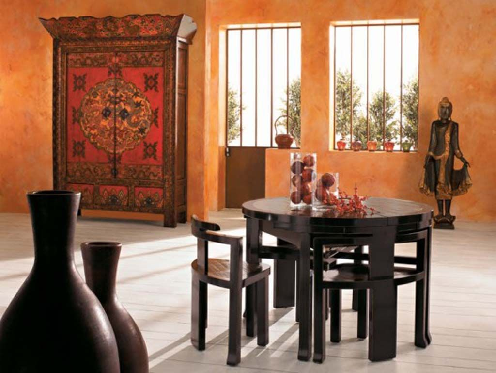 Great Furniture: Charming Asian Dining Room Furniture, Adorable Black Wood Round Dining  Table And Chairs Part 2