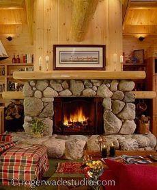 Cabin Fireplaces Designs More Fieldstone Fireplace