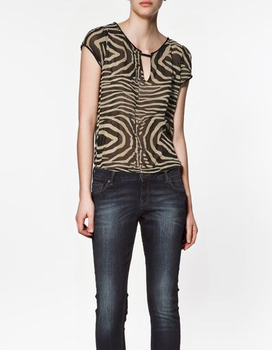 bb6bda1a4aa05 ZEBRA PRINT BLOUSE - Shirts - Woman - ZARA United States  25.99 ...