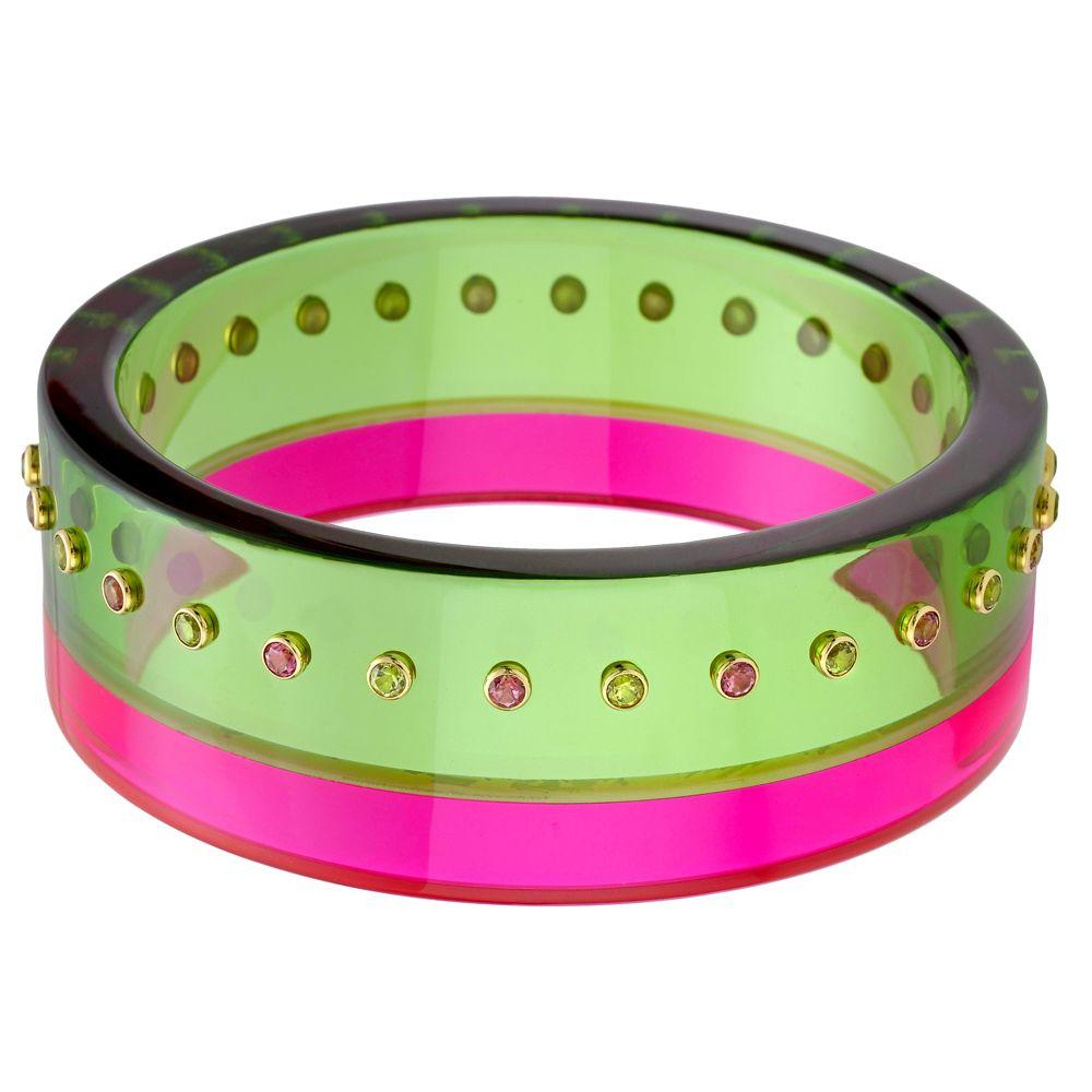 "Betteridge: Mark Davis ""Sydney"" Gem-Set Pink & Green Bakelite Bracelet"