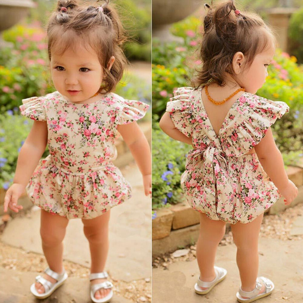Floral Clothes Jumpsuit Romper Bodysuit Dress Outfit for Newborn Kids Baby Girls