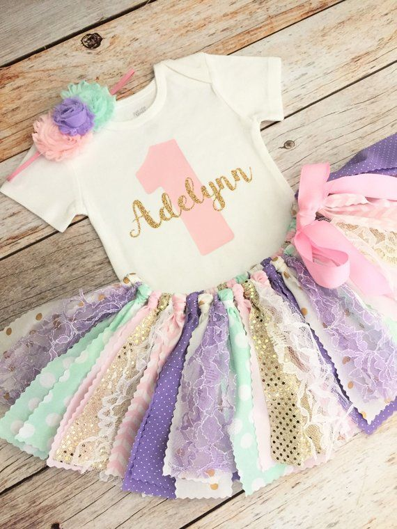 d3902590 Lavender Pink Mint and Gold Sparkly Cake Smash Birthday Outfit with  Headband and Name, Pink Lavender