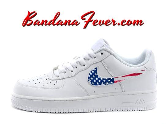Custom Distressed American Flag Nike Air Force 1 Shoes White