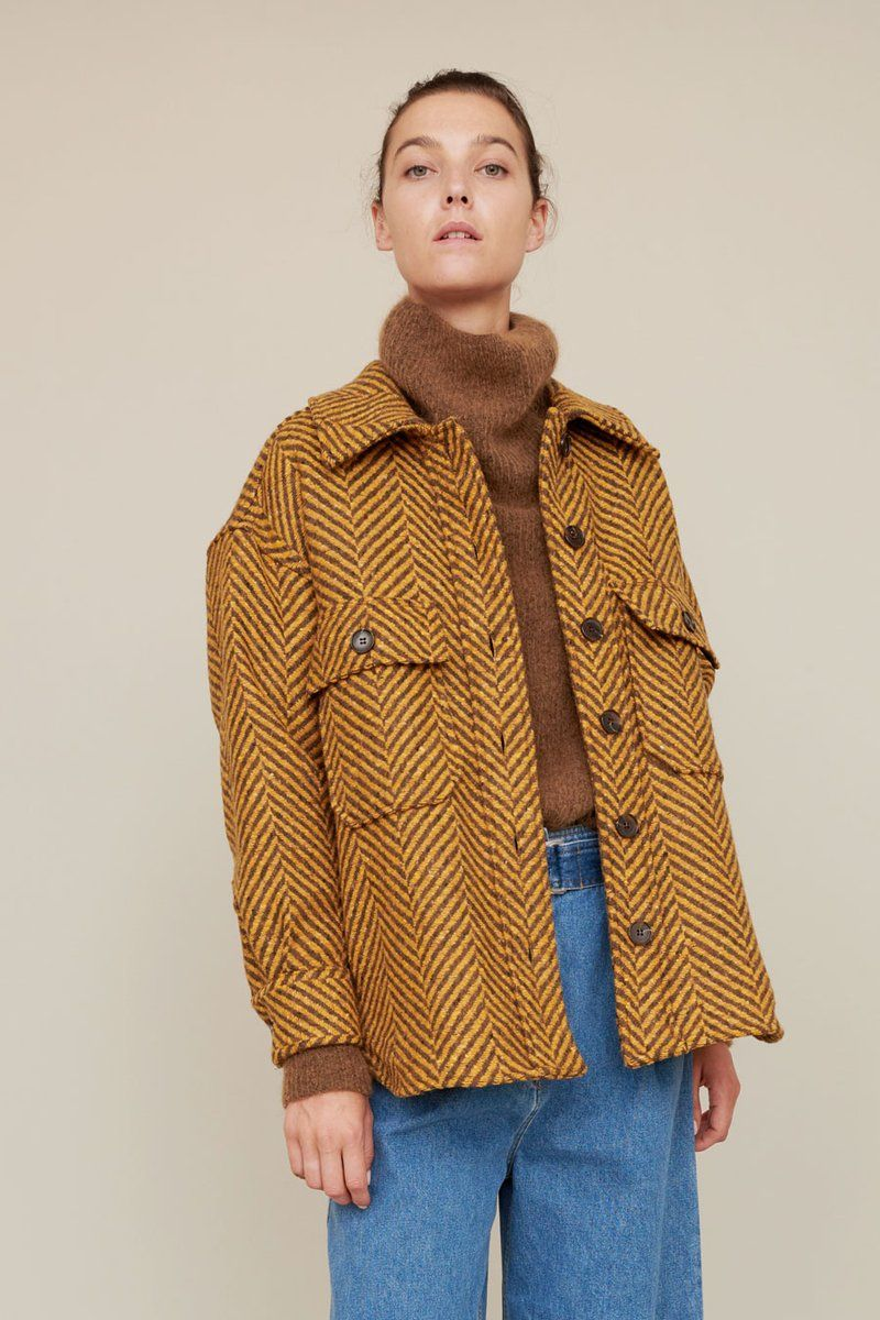 60a3654d6ee No.6 Wilson Oversized Shirt Jacket in Mustard / Brown Herringbone ...