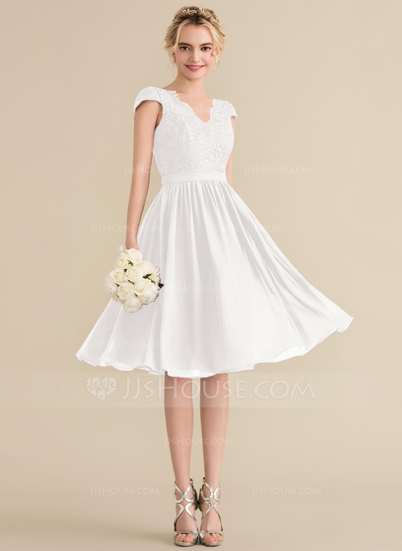 ALine/Princess Vneck KneeLength Chiffon Lace Bridesmaid